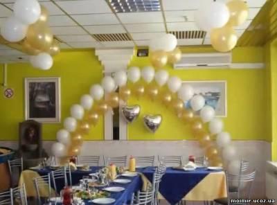 Оформление залов воздушными шарами. Цепочка смотреть обучающее видео
